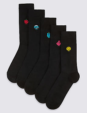 5 Pack Cotton Rich Embroidered Socks