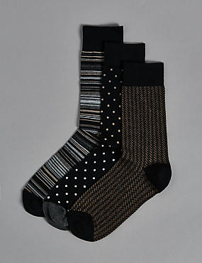 3 Pairs of Modal Blend Assorted Socks