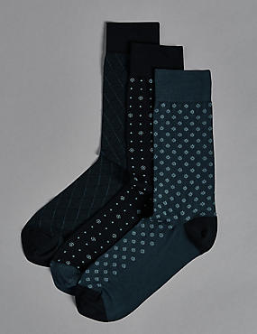 3 Pairs of Modal Blend Heel & Toe Design Socks