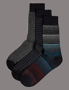 3 Pairs of Modal Pima Blend Socks