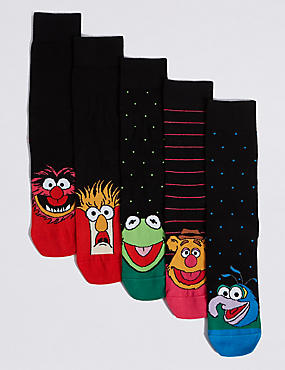 The Muppets™ 5 Pack Cotton Rich Muppets Character Socks, MULTI, catlanding