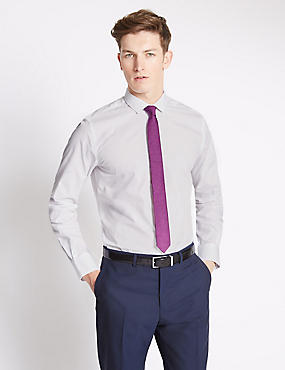 Slim Fit Easy to Iron Plain Shirt with Tie