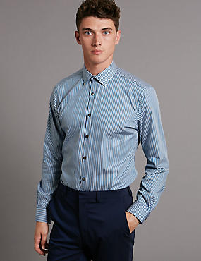 Supima® Tailored Fit Pure Cotton Striped Shirt
