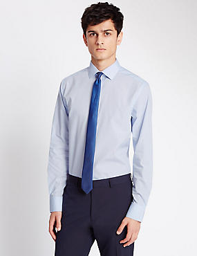 Long Sleeve Slim Fit Shirt with Tie