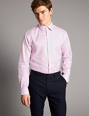 Pure Cotton Tailored Fit Shirt, PINK, catlanding