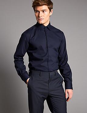 Cotton Rich Tailored Fit Shirt, DARK NAVY, catlanding