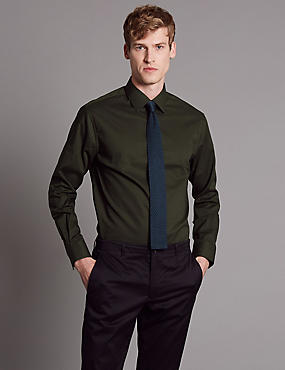 Cotton Rich Tailored Fit Shirt with Stretch, KHAKI, catlanding