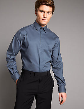 Cotton Rich Tailored Fit Shirt, STEEL, catlanding