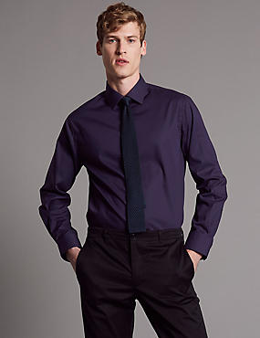Cotton Rich Tailored Fit Shirt with Stretch, RICH PURPLE, catlanding