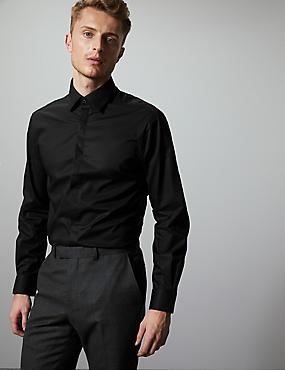 Cotton Rich Tailored Fit Shirt, BLACK, catlanding