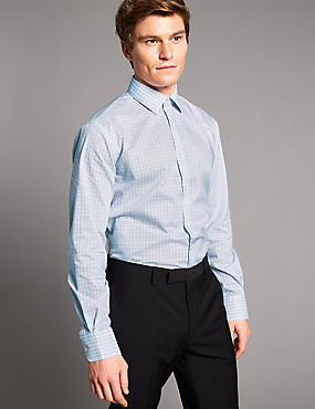 Pure Cotton Tailored Fit Shirt, NAVY, catlanding