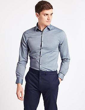 Pure Cotton Easy to Iron Shirt, NAVY, catlanding