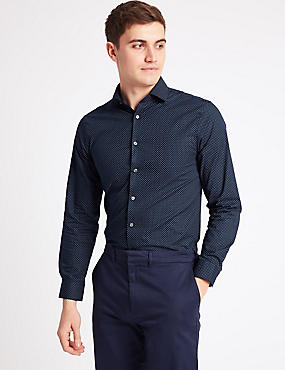 Pure Cotton Easy to Iron Shirt, NAVY MIX, catlanding