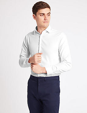 Pure Cotton Modern Slim Fit Shirt, WHITE, catlanding