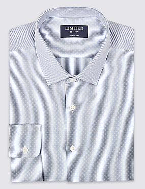 Pure Cotton Modern Slim Fit Shirt, WHITE MIX, catlanding