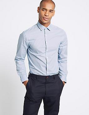 Pure Cotton Modern Slim Fit Shirt, BLUE MIX, catlanding