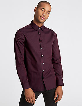 Pure Cotton Modern Slim Fit Striped Shirt, WINE MIX, catlanding