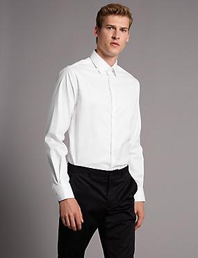 Cotton Rich Tailored Fit Shirt, WHITE, catlanding