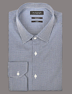 Pure Cotton Tailored Fit Shirt, FRENCH NAVY, catlanding