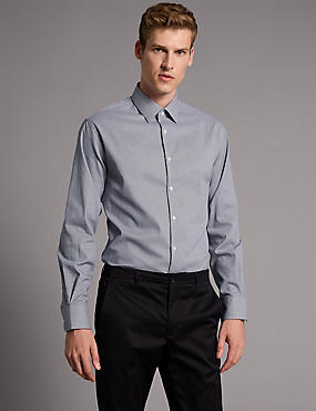 2in Longer Cotton Rich Tailored Fit Shirt, FRENCH NAVY, catlanding
