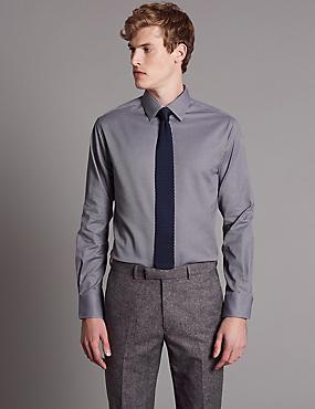 Cotton Rich Tailored Fit Textured Shirt, PURPLE MIX, catlanding