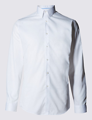 Slim Fit Forward Point Collar Twill Shirt Clothing