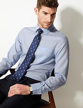 Performance Non-Iron Pure Cotton Slim Fit Shirt, SKY, catlanding