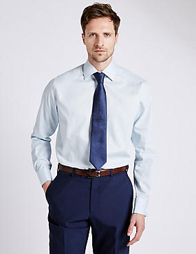 Pure Cotton Non-Iron Regular Fit Shirt, SKY, catlanding