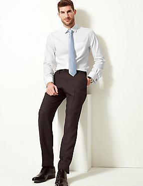 Pure Cotton Non-Iron Twill Slim Fit Shirt, WHITE, catlanding