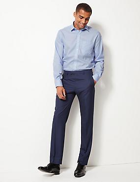 Pure Cotton Non-Iron Regular Fit Shirt, BLUE, catlanding
