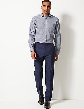 Pure Cotton Non-Iron Regular Fit Shirt, NAVY MIX, catlanding