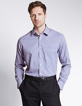 Performance Pure Cotton Non-Iron Gingham Checked Shirt