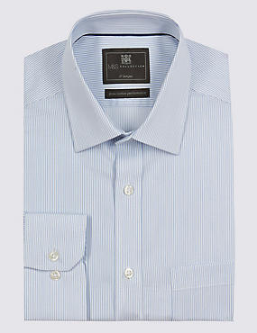2in Longer Pure Cotton Non-Iron Striped Shirt