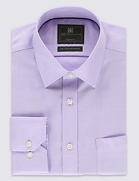 Performance Pure Cotton Non-Iron Herringbone Shirt