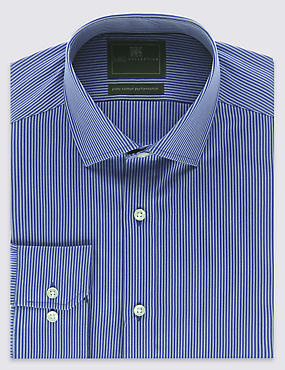 Performance Pure Cotton Slim Fit Non-Iron Striped Twill Shirt