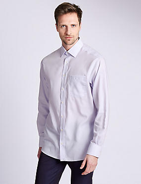 2in Longer Performance Pure Cotton Non-Iron Grid Checked Shirt