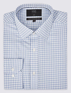 Pure Cotton Non-Iron Slim Fit Checked Shirt