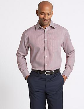 Pure Cotton Non-Iron Regular Fit Shirt, CRANBERRY, catlanding