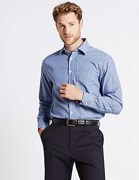 2in Longer Non-Iron Regular Fit Shirt, DARK NAVY MIX, catlanding
