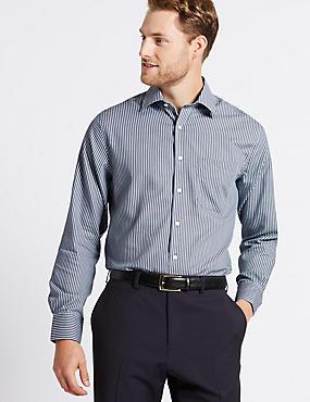 2in Longer Non-Iron Regular Fit Shirt, DARK GREY MIX, catlanding
