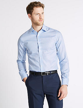 Pure Cotton Non-Iron Slim Fit Shirt, BLUE MIX, catlanding