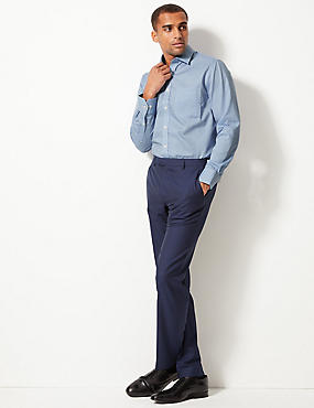 Pure Cotton Regular Fit Non-Iron Shirt, BLUE MIX, catlanding