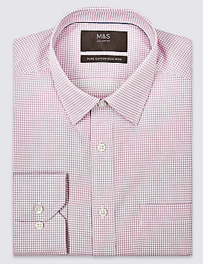 Pure Cotton Regular Fit Non-Iron Shirt, LILAC MIX, catlanding