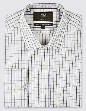 Pure Cotton Regular Fit Non-Iron Shirt, GREY MIX, catlanding