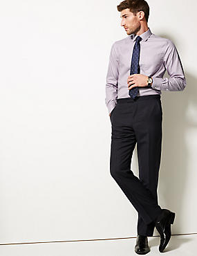 Pure Cotton Slim Fit Non-Iron Shirt, LILAC MIX, catlanding