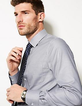 Pure Cotton Slim Fit Non-Iron Shirt, GREY MIX, catlanding