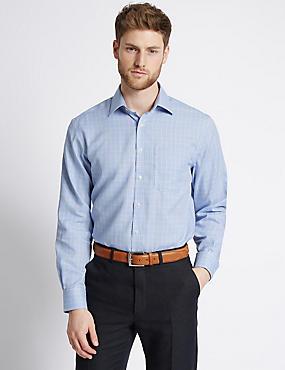 2in Longer Non-Iron Regular Fit Shirt, BLUE MIX, catlanding