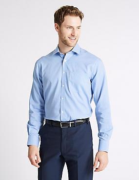 Pure Cotton Non-Iron Regular Fit Shirt, BLUE MIX, catlanding