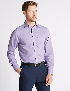 Pure Cotton Non-Iron Regular Fit Shirt, LILAC MIX, catlanding