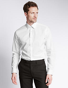 Cotton Stretch Slim Fit Shirt with Subtle Contrast Trim